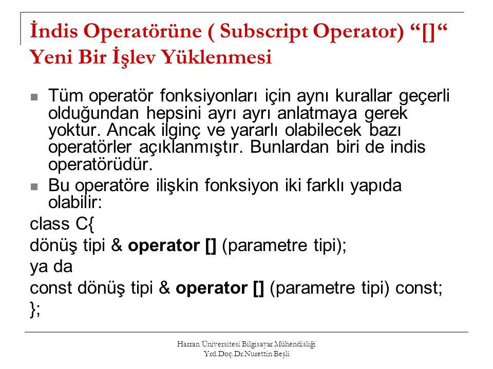 İndis Operatörüne ( Subscript Operator) [] Yeni Bir İşlev Yüklenmesi